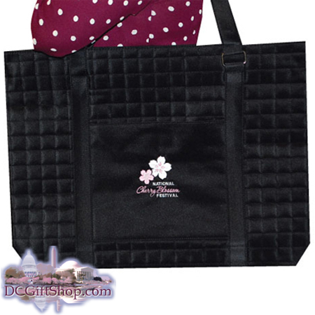 Cherry Blossom Embroidered Quilted Bag