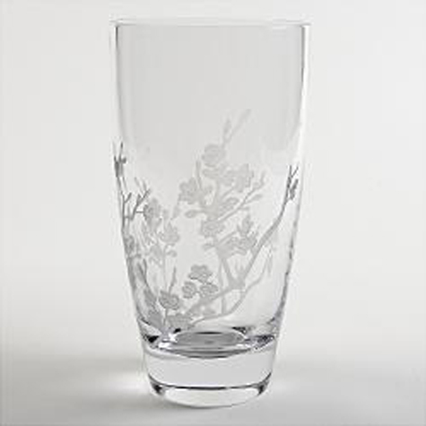 Cherry Blossom Etched Crystal Vase