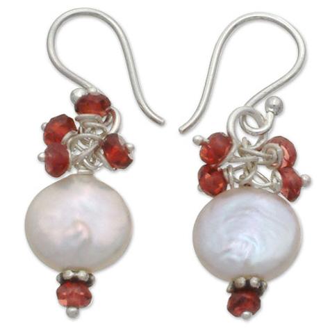 Cherry Blossom Pearl and Garnet Earrings