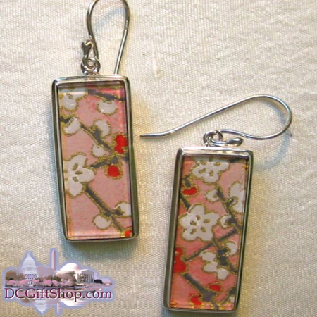 Japanese Washi Paper Earrings/Sterling Silver
