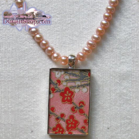 Japanese Washi Paper Necklace/Sterling Silver