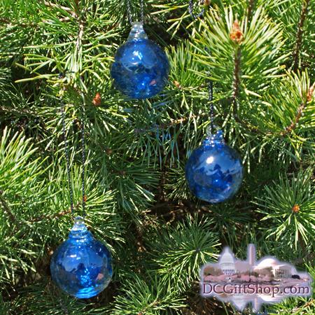 Set of 3 Cobalt Blue Glass Balls