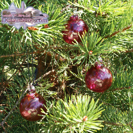 3 sets of Cranberry Red Glass Balls