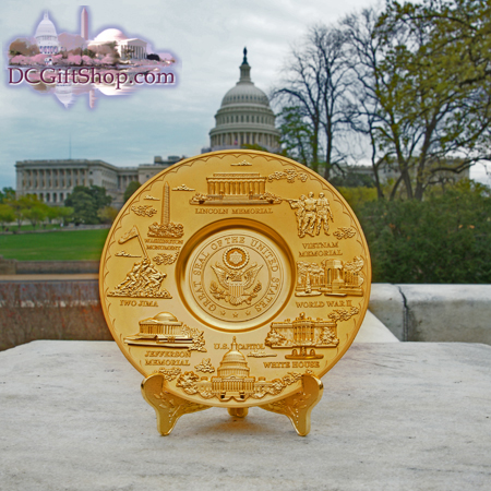 Washington DC Landmark Gold Souvenir Plate