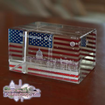3D Laser Washington DC American Flag Paperweight