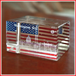 White House and American Flag 3D Paperweight