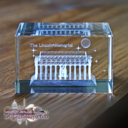 Lincoln Memorial 3D Glass Paperweight