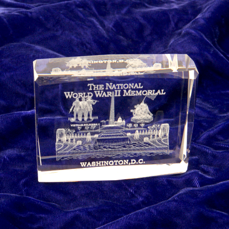 The National World War II Memorial Glass 3-D Laser Etched Paperweight