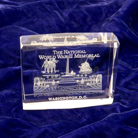 World War II Memorial Glass 3D Paperweight