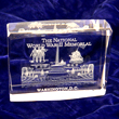 World War II Memorial Glass 3D Paperweight