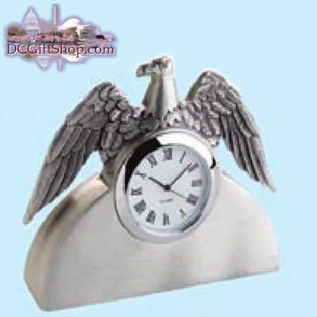 Pewter Eagle Clock