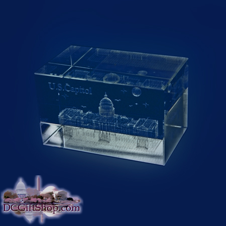 3D U.S. Capitol Glass Paperweight