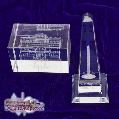 Washington DC Glass Paperweight Set