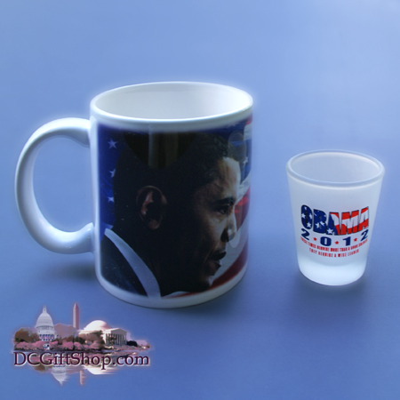 Vote Obama 2012 Coffee Cup and Shot Glass