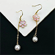 Cherry Blossom Flower Drop Pearl Earrings