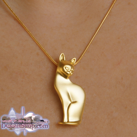 Elegance Cat Gold Pendant with Chain