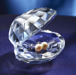 Crystal Oyster with Pearl Earrings