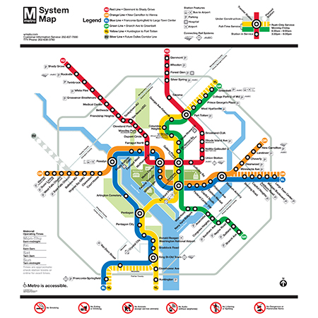 Washington Dc Metro System Map Poster