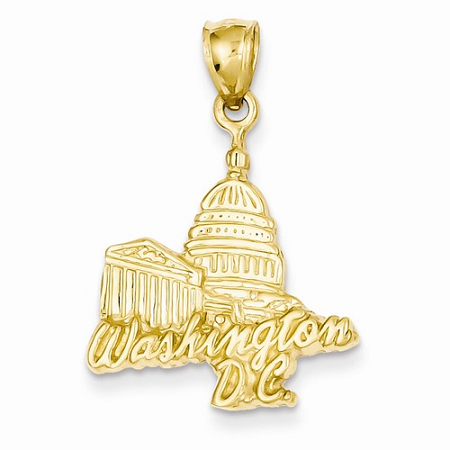 14k Solid Polished Capitol Building Pendant