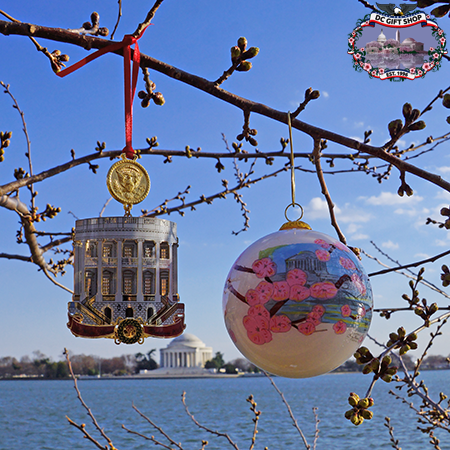 2018 White House Cherry Blossom Ornament Set