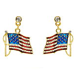 US Flag Enamel Dangle Earrings with Clear Crystals