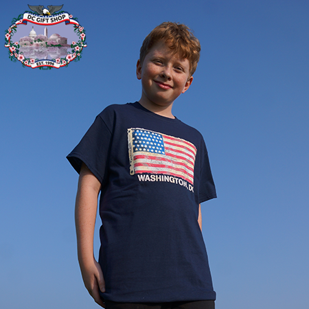 American Flag T Shirt - Navy Blue