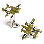 Army Green P38 Lightning Aircraft Cufflinks