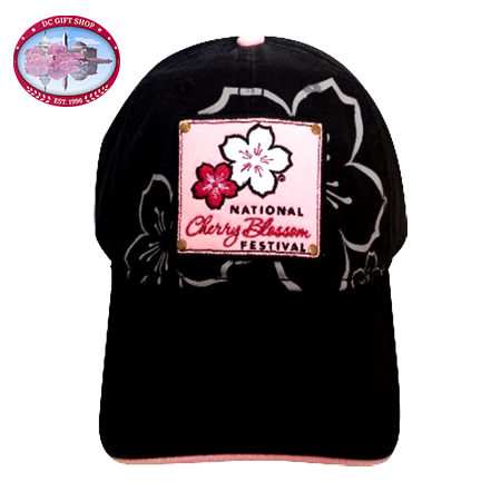 Cherry Blossom Black Patch Hat
