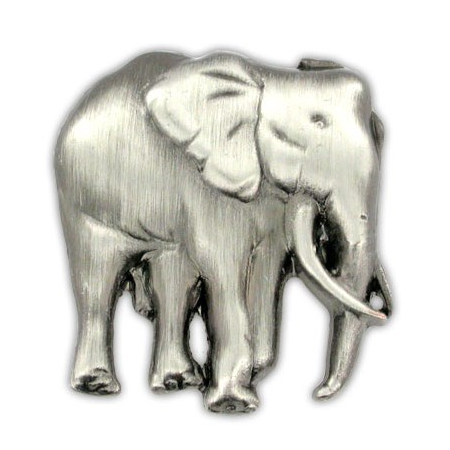 Elephant Pin - Antique Silver