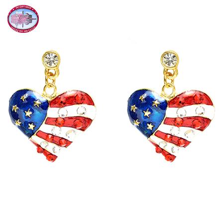Gold Tone Red Heart Dangle Earrings