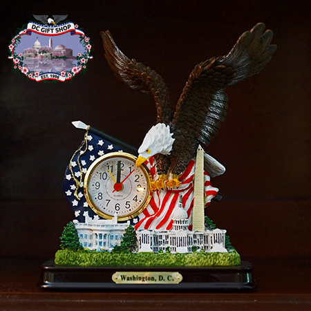 Great Eagle American Flag Clock