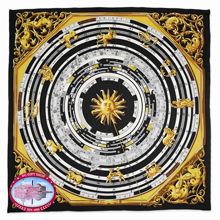 Kennedy Black Zodiac Handmade Silk Fashion Scarf