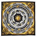 Kennedy Black Zodiac Handmade Silk Fashion Scarf