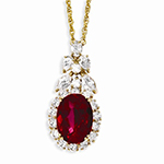 Kennedy Gold-Plated Red CZ 18in Necklace