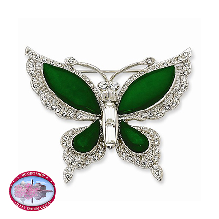 Kennedy Silver Swarovski Crystal Butterfly Pin