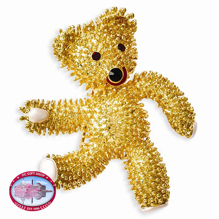 Kennedy Teddy Bear With Swarovski Crystals Brooch