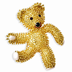 Kennedy Teddy Bear With Swarovski Crystals Brooch