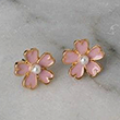 Cherry Blossom Pearl Stud Earrings