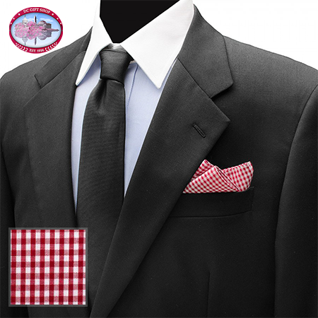 Red Gingham Cotton Pocket Square