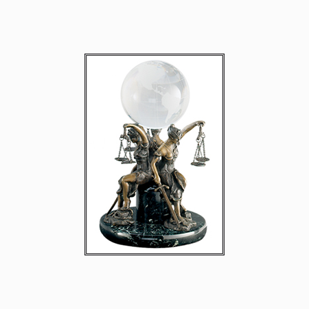 Seated Lady Justice Trio With Globe Statue