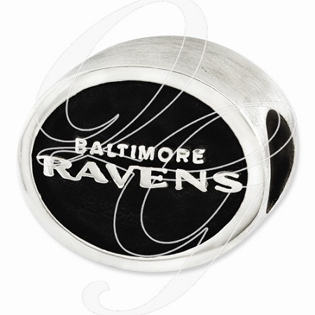 Sterling Silver Enameled Baltimore Ravens NFL Bead
