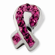 Sterling Silver Pink Crystal Awareness Ribbon Bead