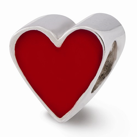 Sterling Silver Red Enameled Heart Reflections Bead