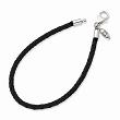 Sterling Silver Reflections Black Leather Bead Bracelet