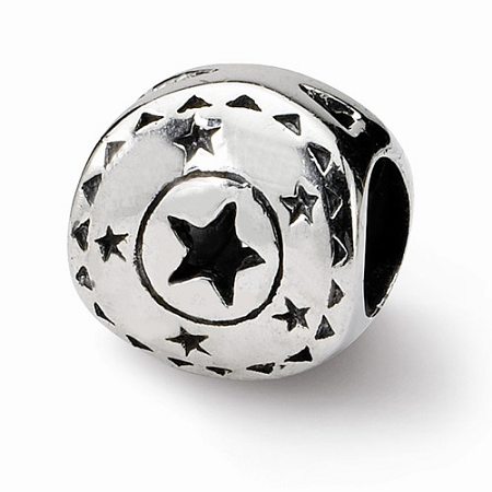 Sterling Silver Reflections Circle W/Stars Bead