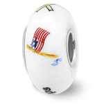 Sterling Silver Reflections Hand Painted Support Our Troops Glass Bead
