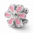 Sterling Silver Reflections Pink Flower W/Swarovski Elements Bead