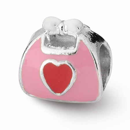 Sterling Silver Reflections Pink/Red Enameled Purse Bead