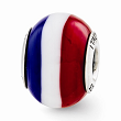 Sterling Silver Reflections Red/White/Blue Italian Murano Glass Bead