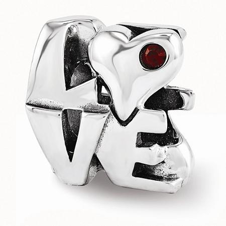Sterling Silver Reflections Swarovski LOVE Bead